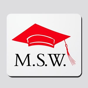 Red MSW Grad Cap Mousepad